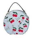 Banned BLINDSIDE Vintage CHERRY Kirschen Round Bag HANDTASCHE - Cartera de mano con asa para mujer Hellblau mit Kirschen Diámetro Approx. 24 cm x profundidad Approx. 10 cm