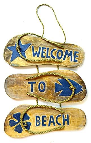 'N/A' Letrero rústico de granja Flip Flop Hibiscus Welcome to Beach Sign Toallas Playa Tabla de surf de madera para colgar en la pared Arte Tiki Bar