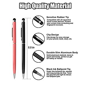 Stylus Pens anngrowy Capacitive Stylus Ballpoint Pens 2 in 1 Stylus for Kindle Touch ipad iphone 6/6s 6Plus 6s Plus Samsung S5 S6 S7 Edge S8 Plus Note Universal Touch Screens Devices