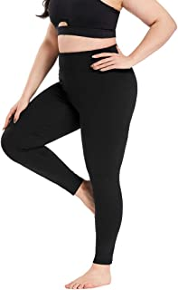 YOHOYOHA Plus Size Leggings High Waist Athletic Workout Yoga Pants Pockets Women's Tummy Control Best Thick Long
