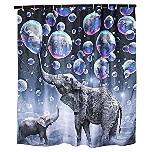Elephant Bubbles Shower Curtain Waterproof African Animals Bathroom Curtains Colorful Fabric Bathroom Shower Curtains Decorative Gray Bath Curtains Set 72x72 Inch