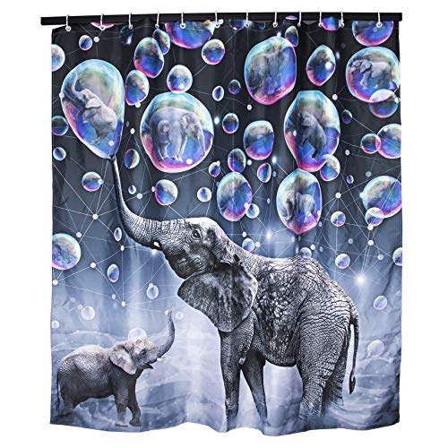 DZGlobal - Cortina de Ducha Impermeable con diseño de Elefantes, diseño de Burbujas de Elefante, Color Gris
