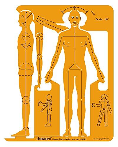 Linograph Männliche menschliche Figur Symbole Drafting Design Schablone Vorlage