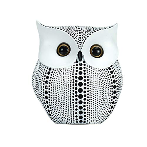 Fikujap European Style Creative Spotted Owl Resin Crafts, Home Accessories, Living Room, Wine Cabinet, TV Cabinet Decoration,White
