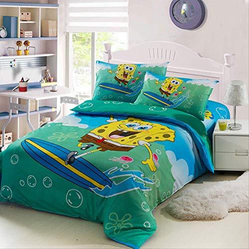 Ropa de cama de algodón esponja sábanas infantiles de dibujos animados para bebés, funda de edredón, funda de almohada 3 juegos Cubierta 150 x 200cm sábanas 205 x 225cm Bob Esponja SquarePants (Azul)