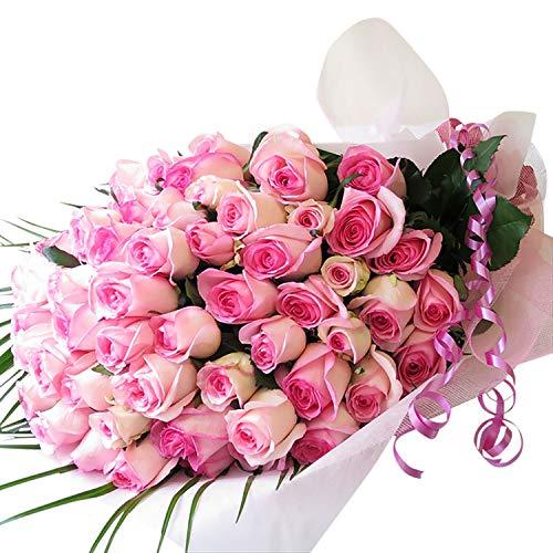 還暦祝い女性プレゼント人気 還暦祝い母 還暦プレゼント バラ60本 還暦祝いプレゼント サンモクスイの手作り (ピンク系バラ60本)