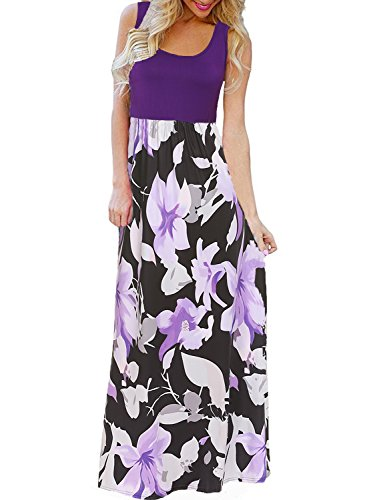 Bluetime Women's Floral Print Round Neck Sleeveless Long Maxi Casual Dress (Purple, L)