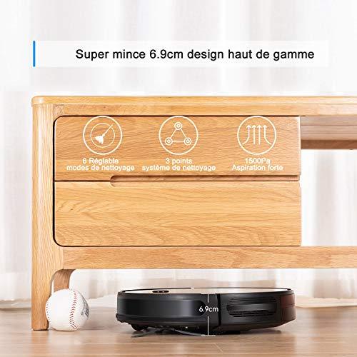 Aspirateur Robot, Bagotte BG600 aspirateur robot laveur 1600 Pa Succion, 6,9 cm Super Slim pour le...