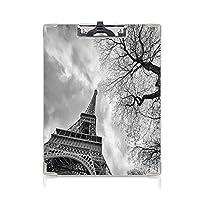 クリップボード A4 エッフェル塔 かわいい画板 冬の木の歴史的建造物を持つヨーロッパのロマンチックなシーン A4 タテ型 クリップファイル ワードパッド ファイルバインダー 携帯便利エッフェル塔 ブラックホワイト