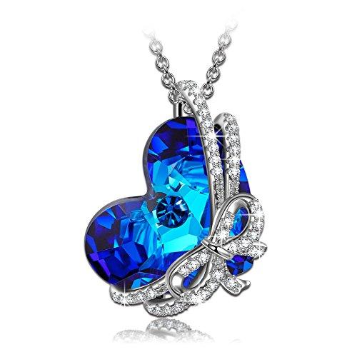 Kami Idea Regalos Dia de la Madre Collares Mujer Joven Cadena de Plata Mujer Tous Mujer Joyeria Arco Corazón Chispeante Azul Swarovski Cristal Regalos para Mujer Mama Navidad