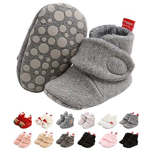 EDOTON Unisex-Baby Neugeborenes Fleece Booties, Schneestiefel Weiche Sohlen Streifen Bootie Kleinkind Stiefel Niedlich Stiefel Socke Einstellbar