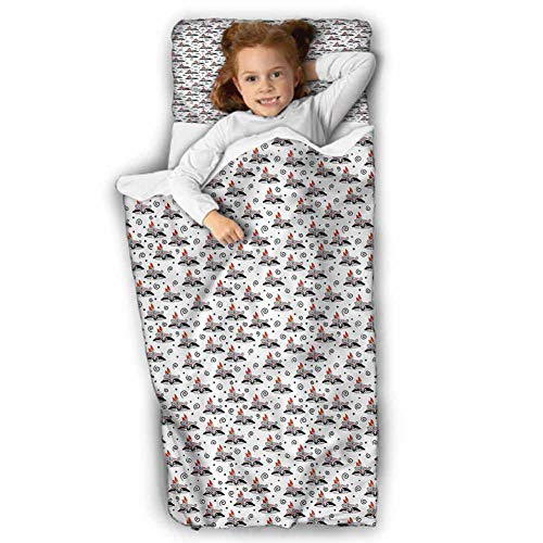 Animal Daycare Sleeping Bag Cartoon Raccoon with Feather for Daycare and Preschool 43X21 INCH