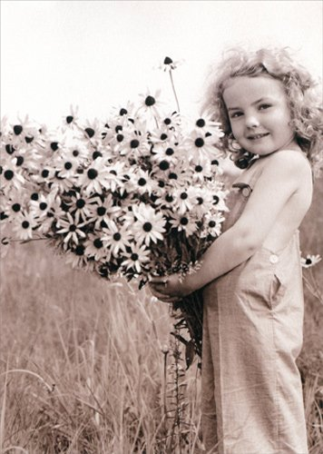 Little Girl Holding Wildflowers - Avanti America Collection Thank You Card