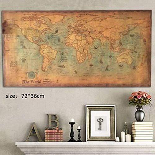 Heng 72 * 36cm Nautical Ocean Sea Weltkarte Retro Old Art Papier Malerei Home Decor Wandplakat Student Stationery School