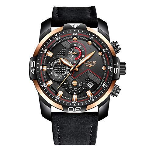 LIGE Relojes para Hombre Masculino Moda Militar Impermeable Deporte Cuarzo Analógico Reloj Elegante Negro Dial Grande Gents Cronógrafo Fecha Calendario Cuero Reloj de Pulsera Caballeros
