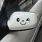 JUNGEN Visage Craquant Souriant Sticker Visage 3D Autocollant Pour Auto Voiture Côté Miroir L + R Rétroviseur 1 Paire (noir)