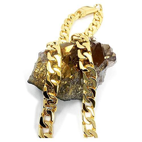 Cadena de eslabones cubanos de oro de 24 quilates, collar para hombre, 14 mm, corte de diamante, pesado, con cierre sólido grueso, estilo hip hop