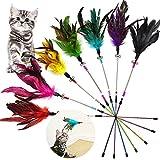onebarleycorn - 7 Piezas Juguete Plumas Gato,Juguetes para Gatos Caña Gato,Varita de Juguetes para Gatos Plumas Interactivos