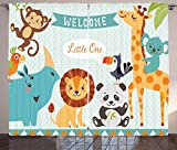 Baby Shower Curtains, Welcome Little Poster Design with