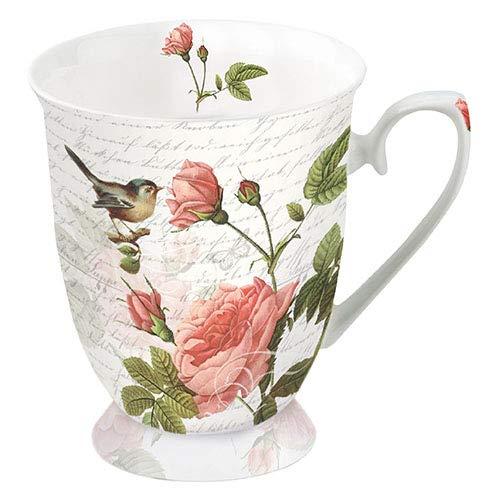 Ambiente Porzellan Becher Mug Tasse Tee / Kaffee ca. 0.25L Floral Roses and Bird Sophie