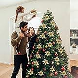 Legendog 24Pcs 5.91 '' Flores Artificiales con Brillos de Boda Flores de Navidad �rbol de Navidad Guirnaldas Decoración (Golden)