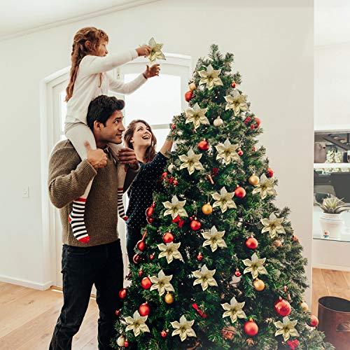 Legendog 24Pcs 5.91 '' Flores Artificiales con Brillos de Boda Flores de Navidad Árbol de Navidad Guirnaldas Decoración (Golden)