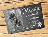 Gedenktafel personalisiert für Tiere | Grabtafel aus Stein mit Foto | Gedenkstein zum Gedenken an den Hund aus Schiefer für Haustiere 30 x 20 cm