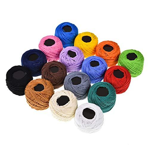 Centitenk 16 Colores de Ganchillo de algodón Bolas del Hilado Bolas del Hilado del Encaje de Aguja de Punto de Cruz Bordado de la Mano de Tejer Hilos