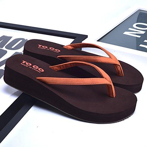 Helling met hoge hak sandalen Dames Zomer Mode Antislip X Rubber Zool Zachte Slippers Strand Koele Slippers Wit/Zwart/Goud/Oranje -Herringbone mode zoete Sandalen