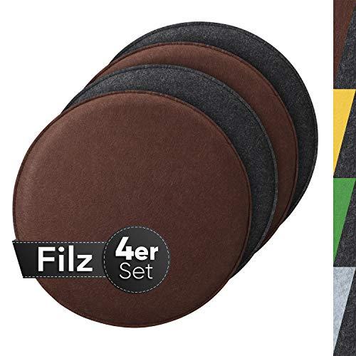 Sidorenko gemütliches Sitzkissen rund aus Filz Ø 36cm - 4er Set Grau I Braun - Waschbare Stuhlkissen kompatibel für Schalenstuhl - Komfortable Sitzauflage für Bank I Stuhl