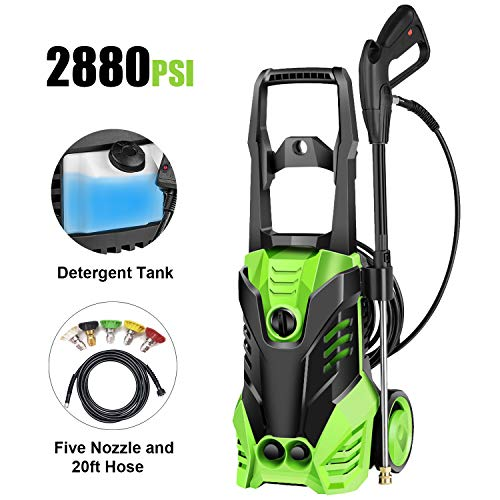 Homdox 2880 PSI 1.70 GPM Electric Pressure Washer 1800W Power Washer Professional Washing Cleaner Machine w/Soap Dispenser, Rolling Wheels, Hose Reel, 5 Nozzles (Green)