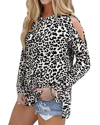 OUGES - Camiseta de manga larga con hombros descubiertos, para mujer - - M