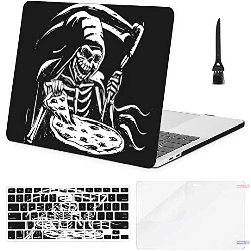 MacBook Air 13 Inch Case Grim Reaper Eating Pizza Black White MacBook Air11 Case MacBook Pro13 Pro15 Plastic Case Keyboard Cover,Screen Protector,Keyboard Cleaning Brush
