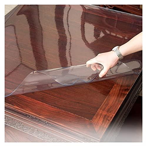 ASPZQ Alfombrilla Protectora de Mantel PVC Vidrio Blando Impermeable Transparente Alfombrilla Protección de Piso Silla Mesa Resistencia Al Rayado (Color : Clear-2.0mm, Size : 80x135cm)