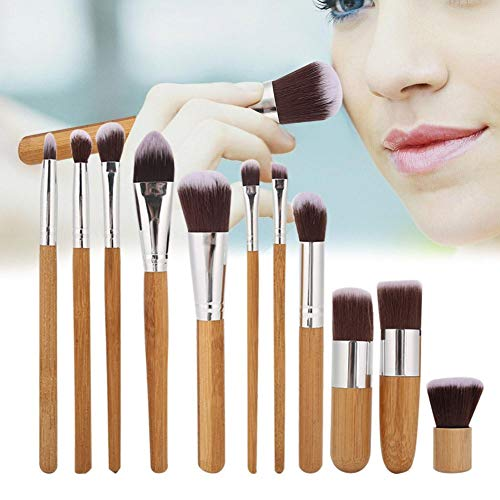 Pinceaux de maquillage, 11pcs Synthetic Foundation Powder Concealers Makeup Shadows Makeup Brush Set for Women, avec sac de rangement, poignée en bambou