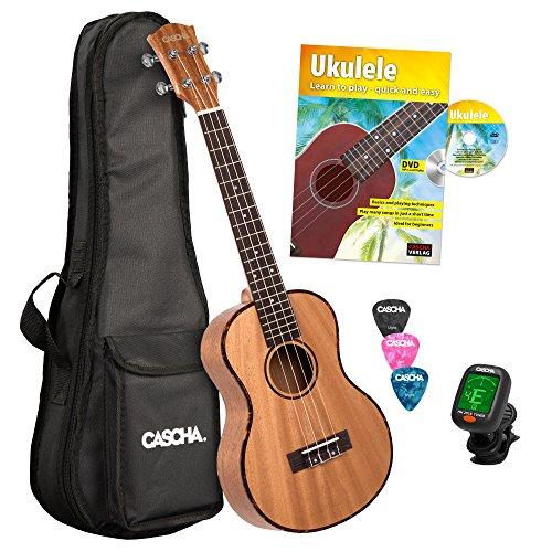 Cascha Premium mahonie sopraan ukelele, kleine Hawaii gitaar, ukelele voor beginners, met acquilasnaren en 3 plectra Ukelele-set Engels 26 inch Tenor