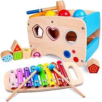 Rolimate Jouet en Bois Éducatif avec Jouet à Marteler 8 Notes Xylophone en Bois Cube de Tri de Formes Coloré Cadeau d?Anniversaire Noël pour Fille Garçon Plus de 1 2 3 + Ans