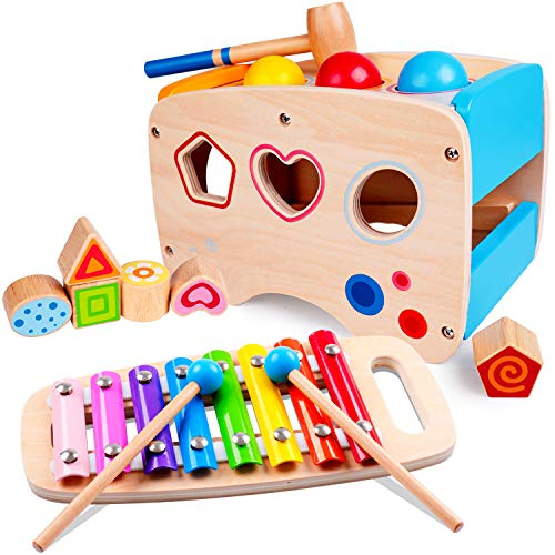 rolimate Hammering Pounding Toys Wooden Educational Toy Xylophone Shape Sorter, Birthday Gift for 1 2 3+ Years Boy Girl Baby Toddler Kids Developmental Montessori Learning Block Ball Toy Fine Motor