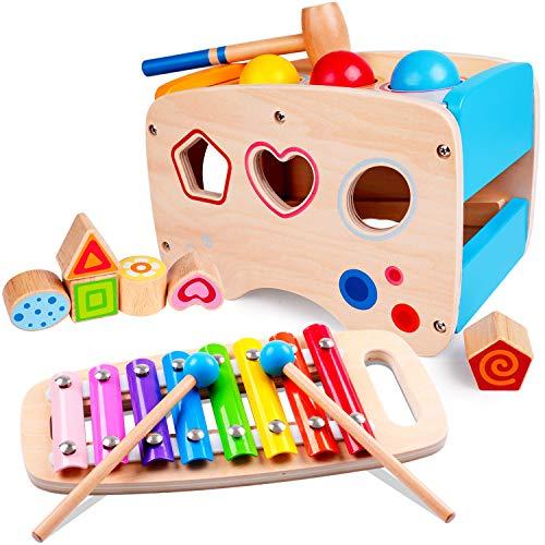 Rolimate Jouet en Bois Éducatif avec Jouet à Marteler 8 Notes Xylophone en Bois Cube de Tri de Formes Coloré Cadeau d'Anniversaire Noël pour Fille Garçon Plus de 1 2 3 + Ans