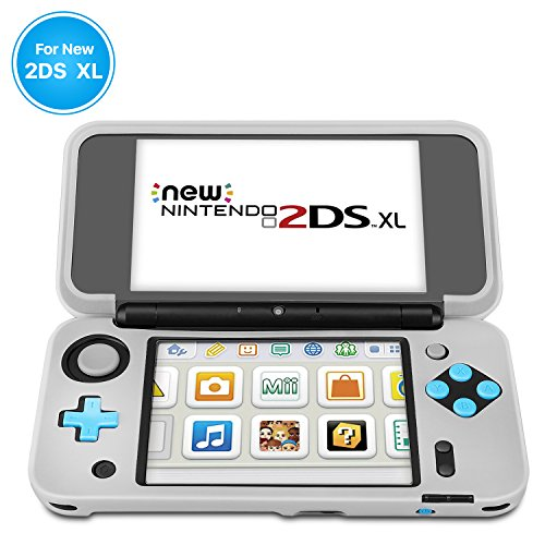 TNP Silicon Case Compatible with New Nintendo 2DS XL LL - Soft Rubber Protective Grip Cover Sleeve Game Console Skin Guard Non-Slip Comfort Gel Ergonomic Controller Shell Accessories (White)