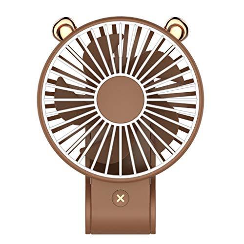 SeeYing - Ventilador de Mesa de Escritorio pequeño Personal con batería Recargable USB, Mini Ventilador portátil para Oficina (marrón)