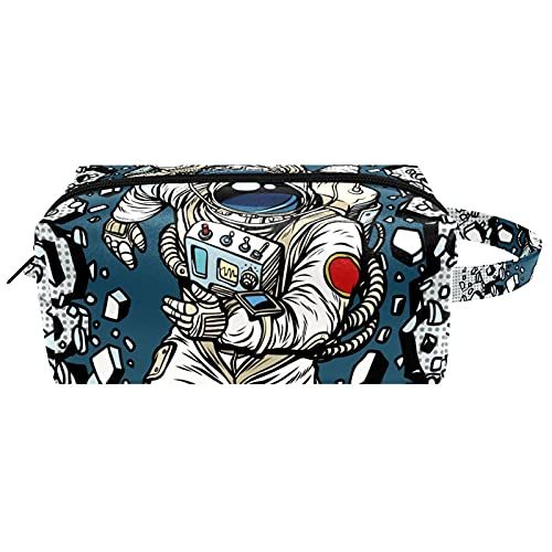 Cosmetic Bag & Case Portable Carry on Travel Toiletry Bag Makeup Train Case Luggage Pouch Handbag Organizer for Men and Women Astronaut Breaking The Wal