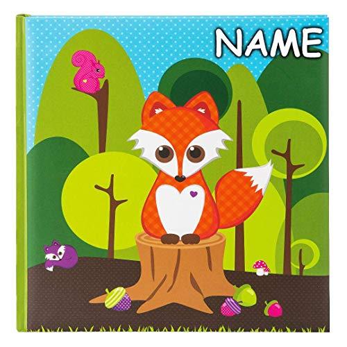 goldbuch personalisiert mit Name - Kinderalbum, Little Fox, 30 x 31 cm, 60 weiße Seiten mit Pergamin-Trennblättern, Kunstdruck laminiert, Grün, 27031