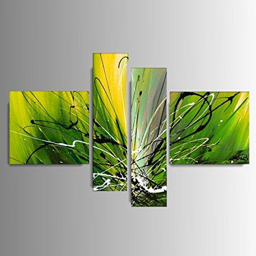 ART MMB 'Diva Verde - 4 Quadri Moderni Astratto Colore Verde Giallo Bianco Nero Dipinto A Mano su Tela Gia' INTELAIATO