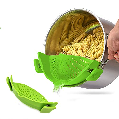 Clip on Strainer, Silicone Food Strainer Fit Most Pots, Pans and Bowls, Heat Resistant Strainer with 2 Clips for Pasta, Spaghetti, Ground Beef Grease