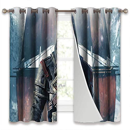 SSKJTC Cortinas opacas para dormitorio Assassin'S Creed Rogue Frontal vertical cortinas para sala de estar (106 x 115 cm)