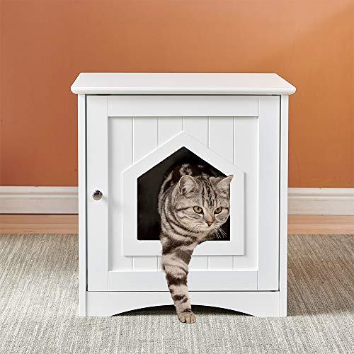 Cat Litter Box Toilet, Small Cat Washroom Litter Cabinet, Wooden Hide House for Dog Cat, Litter Box Enclosure Cat House, Kitten Shelter Shade Hide Hut, Puppy Condo Indoor Sleeping Nesting, White