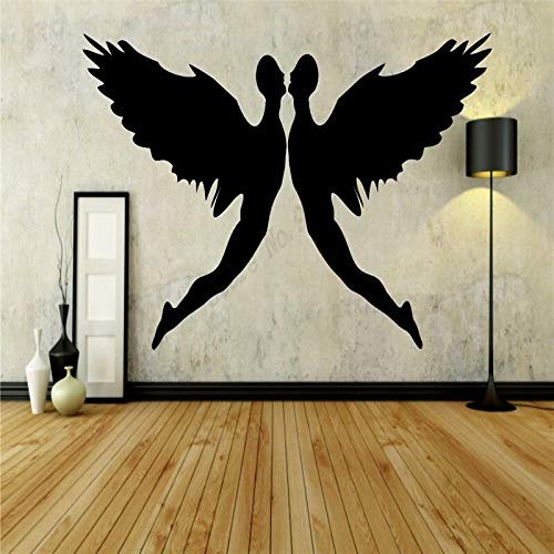 zqyjhkou Wall Decoration Angel Tale Magic Love Heart Wings Room Sticker Vinyl Art Removeable Poster Beauty Ornament 58x75cm