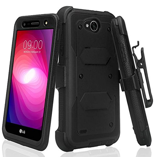 SPYCASE Rugged Holster Case Compatible for LG X Power 2/Fiesta LTE /X Charge/K10 Power/Fiesta 2Cover [Built in Screen Protector] Heavy Duty Swivel Belt Clip Kickstand - Black