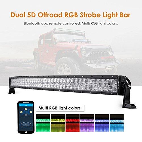 Auxbeam 42 Inch LED Light Bar RGB Multi-Color Curved LED Bar 5D V Series 240W Off Road Driving Light Spot Flood Combo Beam